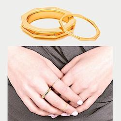 GORJANA 八角形切割 金色小寬版戒指 指尖戒 3件組Peytin Set