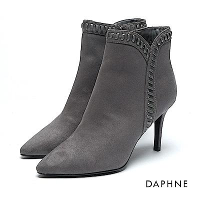達芙妮DAPHNE 短靴-絨布漆皮細繩編織高跟踝靴-灰