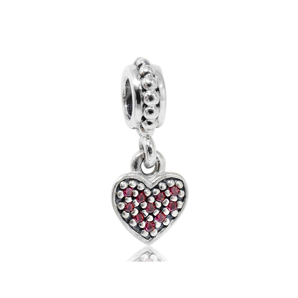 Pandora   魅力鑲鋯粉色愛心 垂墜純銀墜飾 串珠