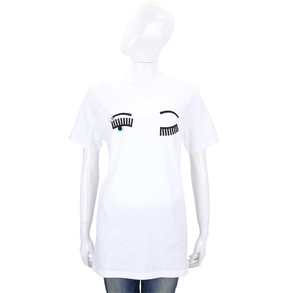 Chiara Ferragni Flirting眉環眨眼圖案短袖長版T恤白色