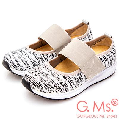 G.Ms. MIT系列-金屬線織布鬆緊帶休閒鞋-銀色