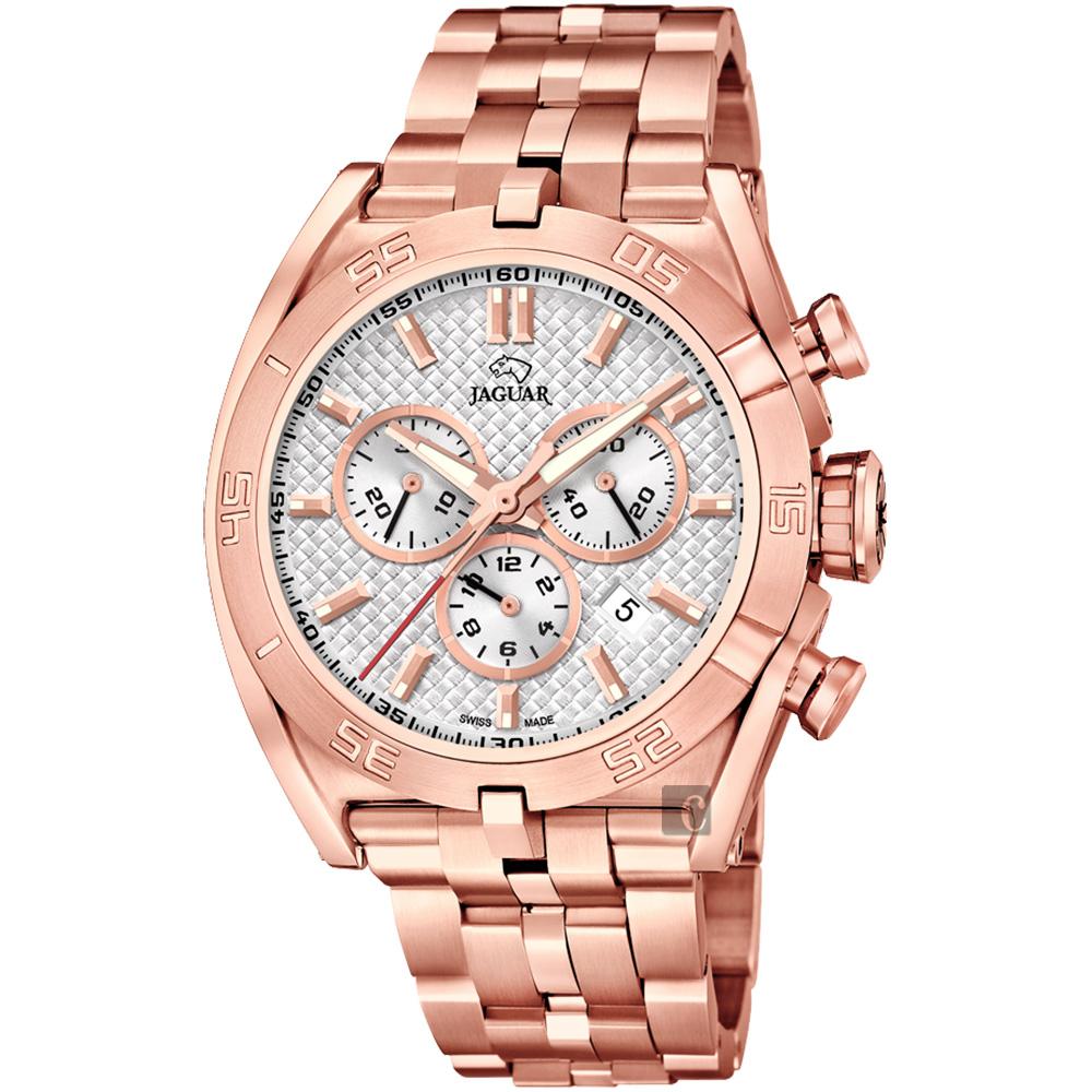 JAGUAR積架 EXECUTIVE 極速計時手錶-銀x玫塊金/45.8mm