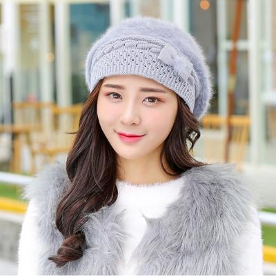 幸福揚邑-保暖加絨護耳防風針織貝蕾帽蝴蝶結兔毛帽-淺灰
