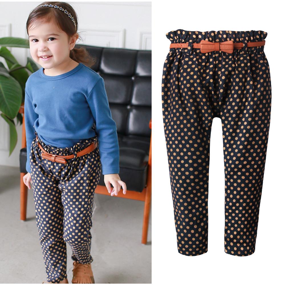 baby童衣女童長褲 高腰點點造型褲+蝴蝶結造型皮帶54201