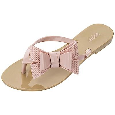 Melissa 立體圖紋蝴蝶結夾腳鞋-卡其/粉
