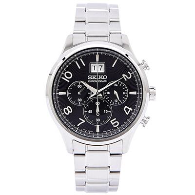 SEIKO 帥氣競速男性手錶(SPC153P1 )- 黑面x銀色/42mm