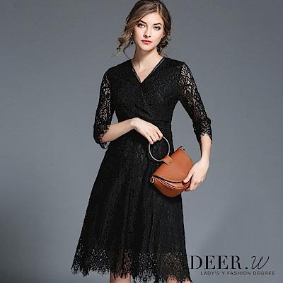 DEER.W V領睫毛蕾絲七分袖洋裝(黑色)