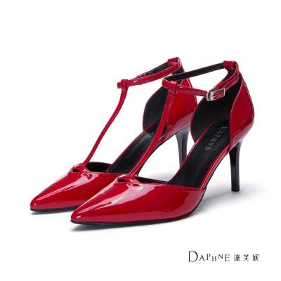 達芙妮DAPHNE 高跟鞋-T字中空尖頭高跟鞋-紅