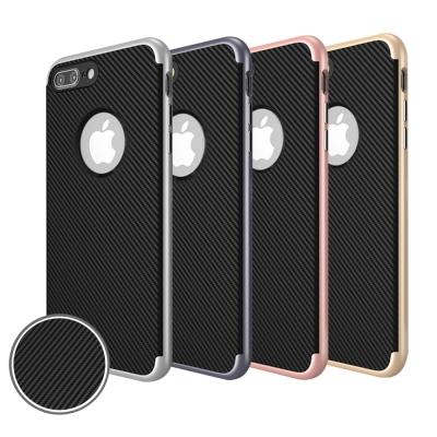 水漾 iPhone7 4.7吋 碳纖維紋電鍍雙層手機軟殼