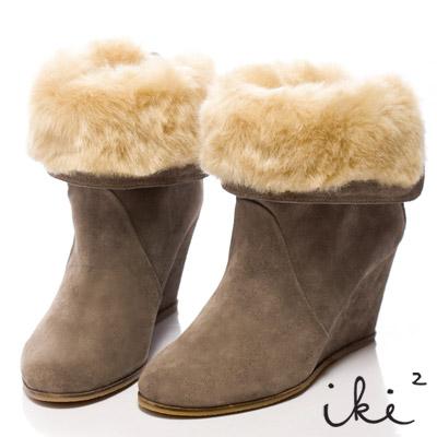 iki2北歐情調-2way毛翻領暖暖楔型靴-灰麂
