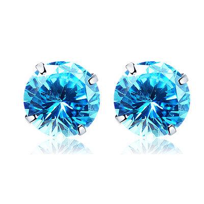 ACUBY 925純銀驚彩鋯石單鑽耳環/5mm海藍