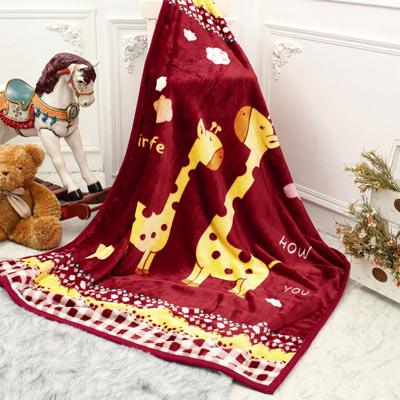 彩舍家居 可愛長頸鹿 高級拉舍爾細絨保暖毛毯