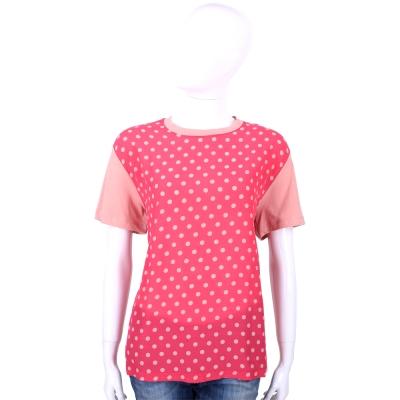 RED VALENTINO 粉色點點圖印拼接設計短袖T恤