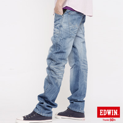 EDWIN-E-FUNCTION-窄直筒牛仔褲-男款-拔淺藍