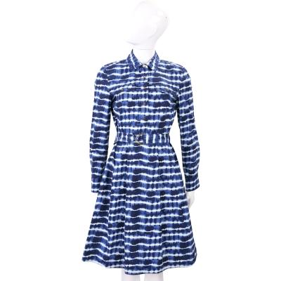 TORY BURCH Derrick 藍色渲染棉料襯衫式洋裝(附腰帶)