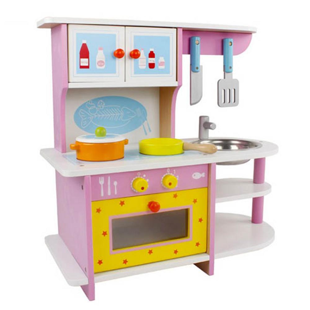 粉色煤氣灶台木製廚具 15024 Amuzinc酷比樂