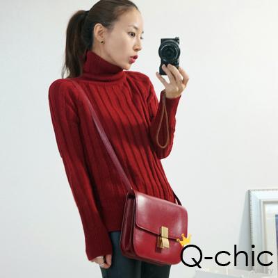 Q-chic 保暖混羊毛素雅高領毛衣 (共三色)