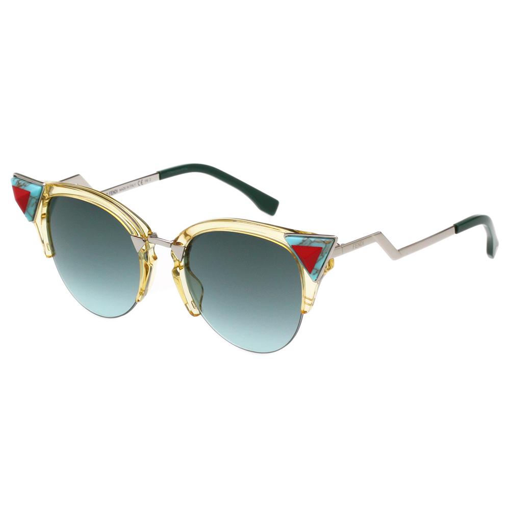 FENDI  寶石貓眼款 太陽眼鏡 (透明黃色)FF0041NS