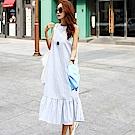 正韓 條紋圓領削肩無袖荷葉擺洋裝 (共二色)-N.C21