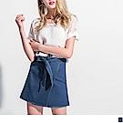 車線配色綁帶造型層次襬短裙-OB大尺碼