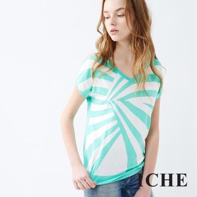 ICHE 衣哲 幾何放射不規則針織上衣 兩色