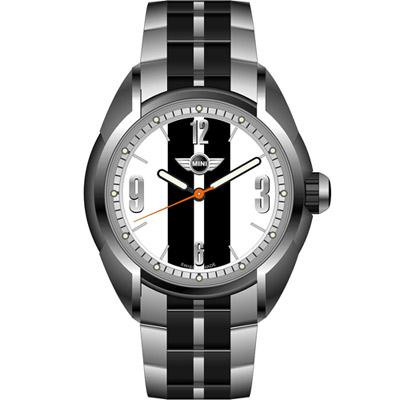 MINI Swiss Watches  休閒運動腕錶-白x黑鋼帶款/38mm