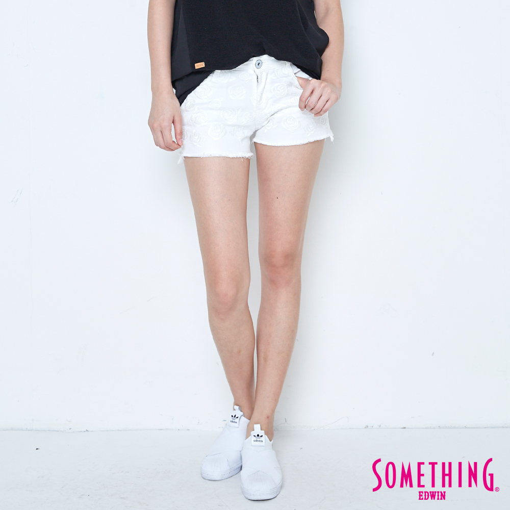 SOMETHING 玫瑰繡花短色褲-女-白色