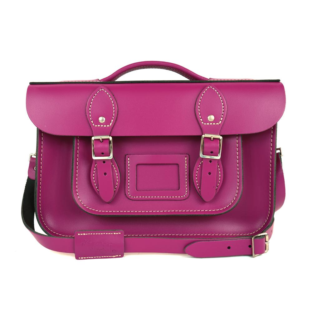 The Leather Satchel 英國手工牛皮劍橋包 肩背手提包 紅莓紫 12.5吋