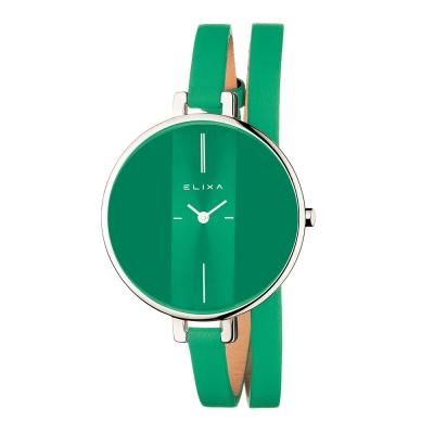 Elixa瑞士精品手錶 Finesse系列銀框 湖水綠錶盤/湖水綠皮革纏繞式錶帶38mm