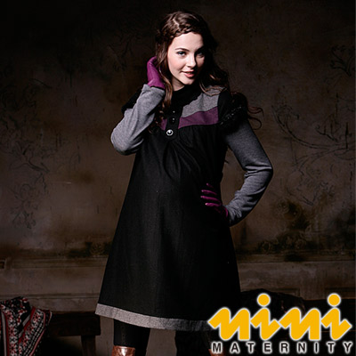 《nini專櫃孕婦裝》優雅簡約時尚秋冬孕婦洋裝-黑(H2W01)