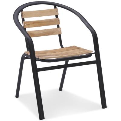 椅吧-木質設計流線戶外休閒椅-56x44x72cm