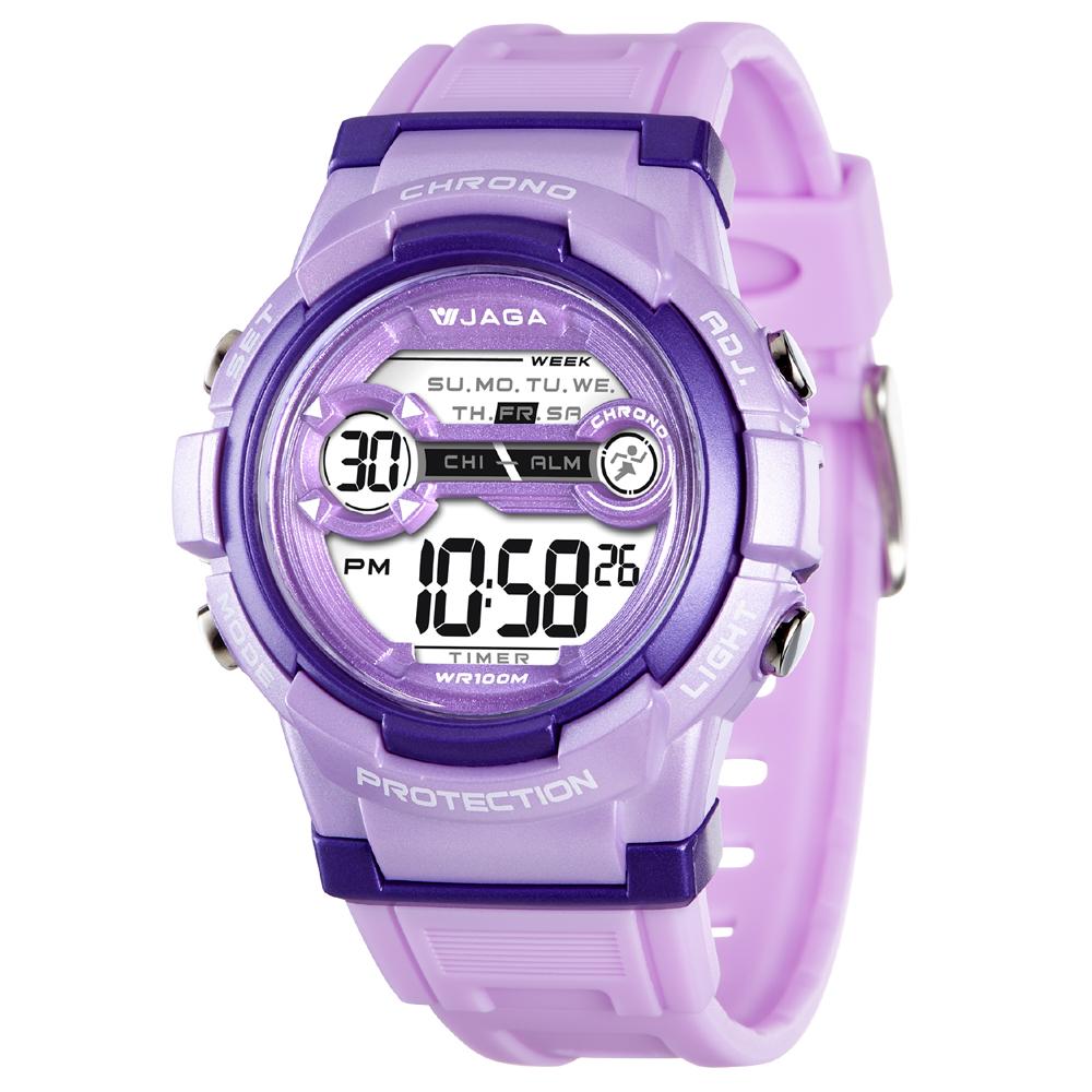 JAGA 捷卡 M1126-J 色彩繽紛花漾年華多功能電子錶-紫