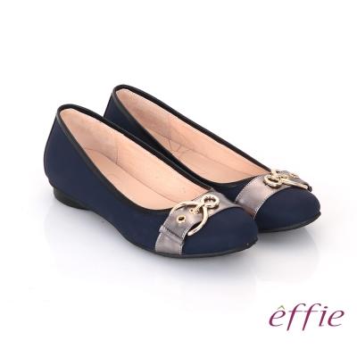 effie 都會休閒 全真皮金屬皮帶飾扣低跟鞋 藍