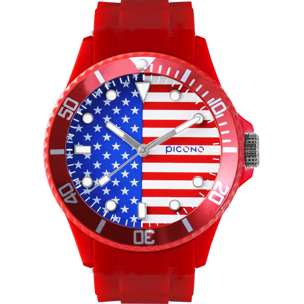 PICONO 國旗系列腕錶-美國x紅/48mm