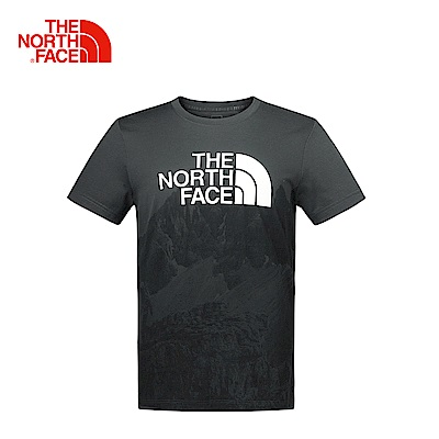 The North Face男款深灰色靈活舒適短袖T恤