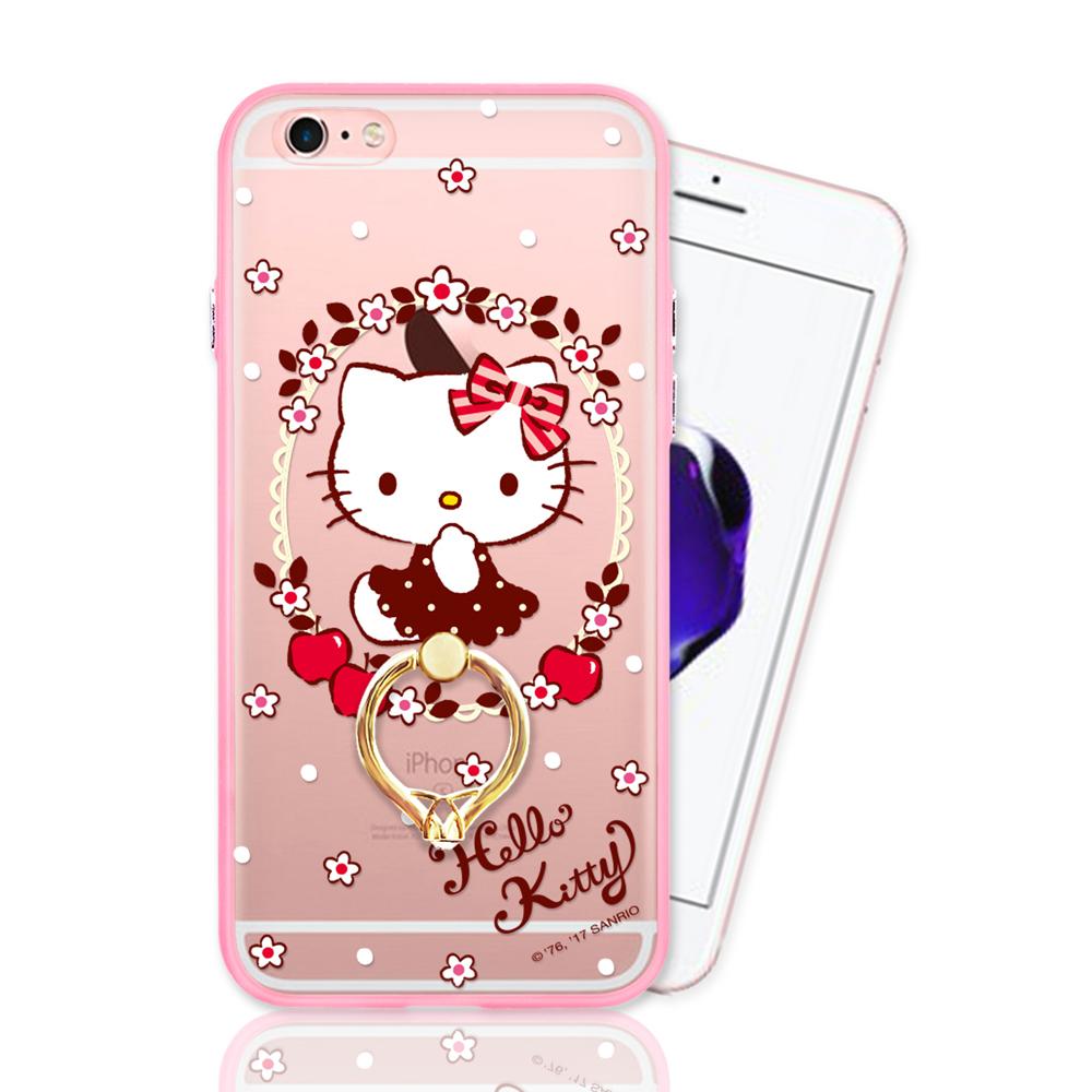 iPhone 6 Plus 正版授權 Hello Kitty凱蒂貓指環扣支架手機殼-花圈款