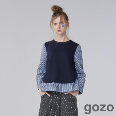 gozo 網路獨家-知性派藝術家拼接假兩件上衣 (二色)