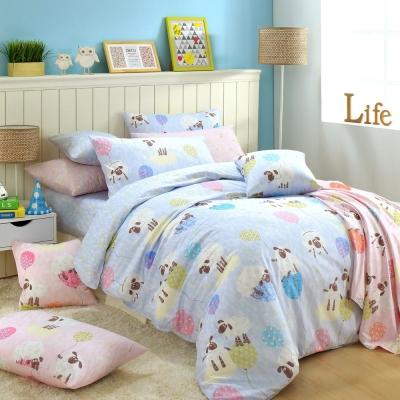GOLDEN-TIME-綿羊的白日夢-藍-精梳棉-加大四件式兩用被床包組