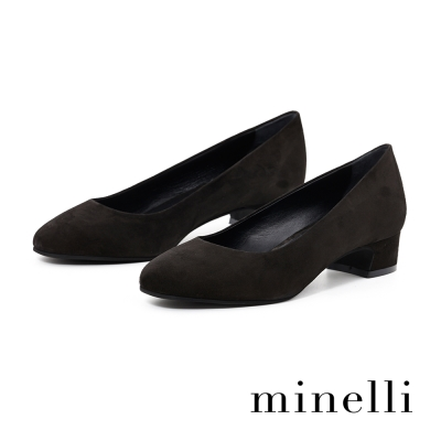 Minelli-麂皮方跟低跟鞋-優雅黑