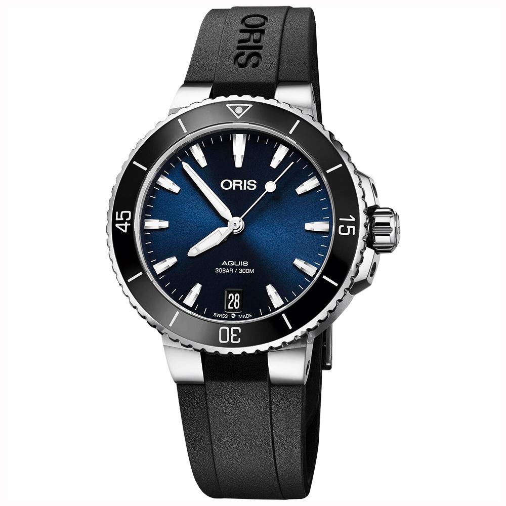 Oris豪利時 Aquis 時間之海潛水300米機械錶-藍x黑色橡膠帶/36.5mm