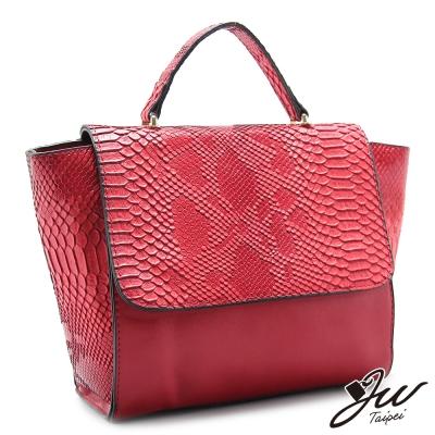 JW-魅惑梅杜莎鱷魚壓紋手提肩背兩用包-熱情紅-快