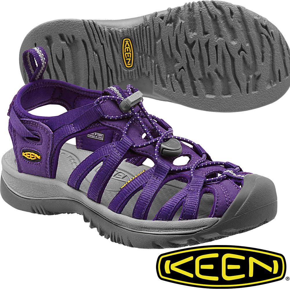 KEEN 女戶外專業護趾涼鞋 Whisper-1012232紫/灰