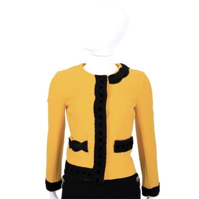 BOUTIQUE MOSCHINO 黃x黑色拼接設計羊毛外套