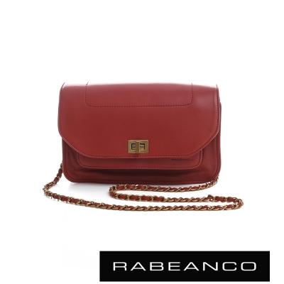RABEANCO 迷時尚牛皮系列鍊帶雙層轉釦方包(大) -桃紅
