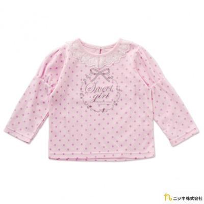Nishiki 日本株式會社 粉色款點點蕾絲領長袖上衣