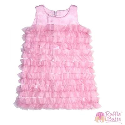 RuffleButts 小女童甜心粉緞面荷葉邊洋裝