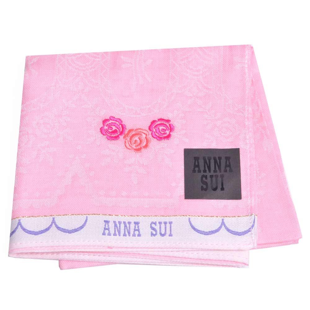 ANNA SUI 浮水印花朵圖騰玫瑰LOGO刺繡帕領巾(粉紅底)