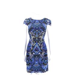 Alice + Olivia 藍色織花蕾絲短袖洋裝