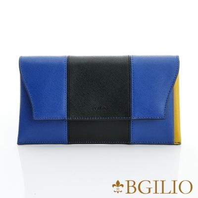 【義大利BGilio】雙色十字紋牛皮西式信封長夾-黑藍色(1951.328-05)