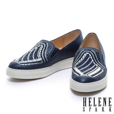 休閒鞋 HELENE SPARK 雙色排鑽全真皮厚底休閒鞋-藍